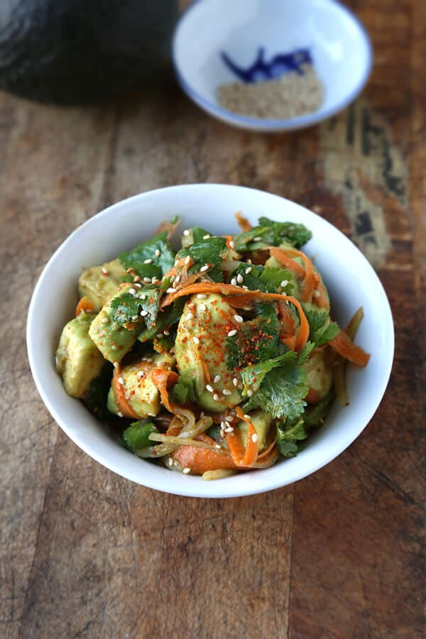 Avocado salad with carrot and ponzu