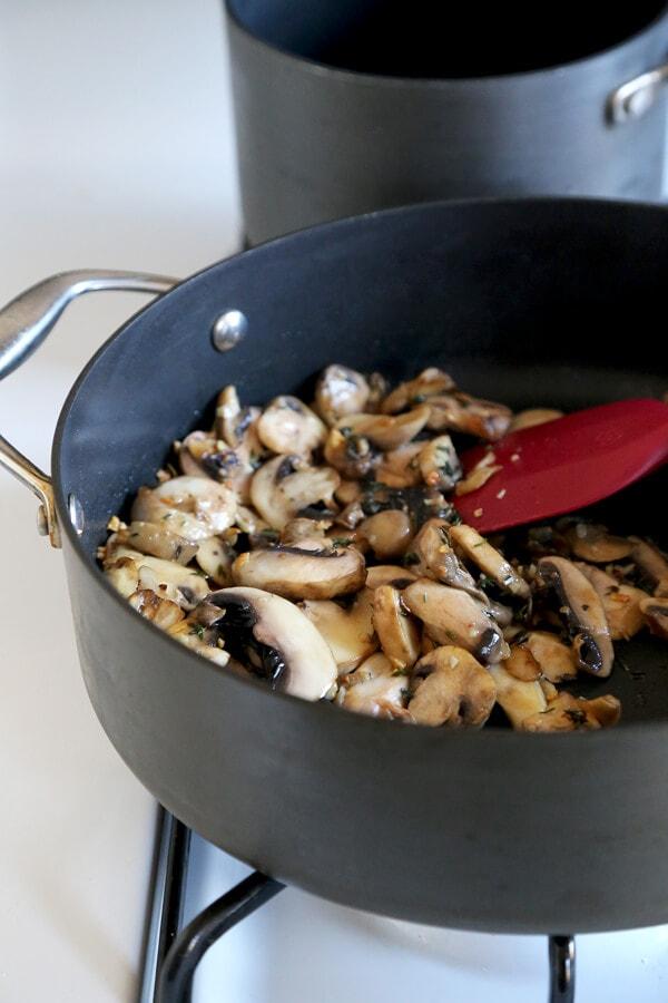 mushrooms frying