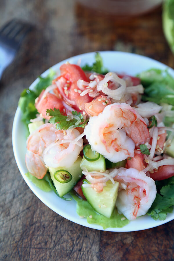 Thai cucumber and shrimp salad