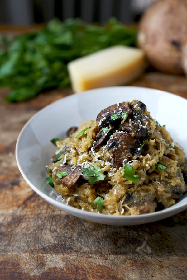 Oven Baked Spaghetti Squash with Mushrooms and Parmesan Cheese
