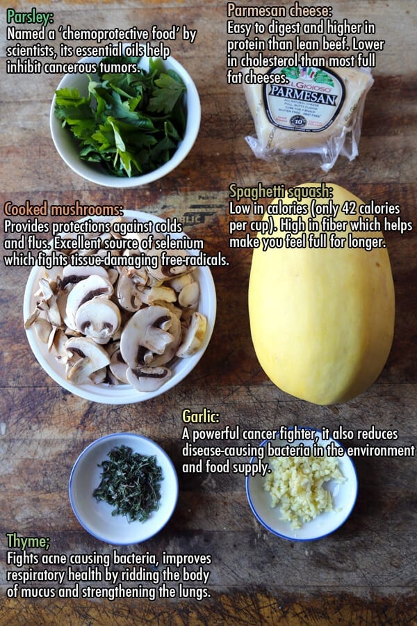 Ingredients for garlic parmesan spaghetti squash with mushrooms.