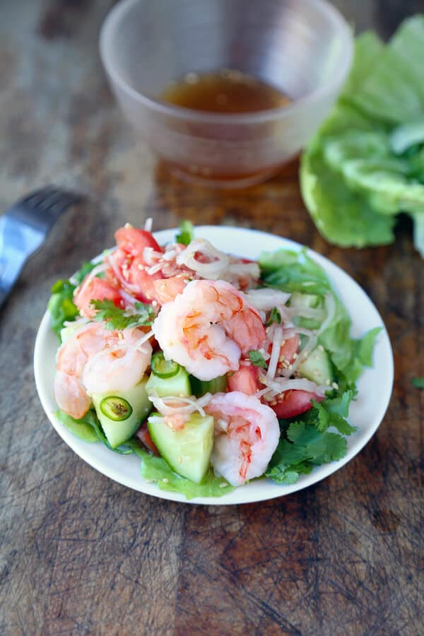 Thai shrimp and cucumber salad