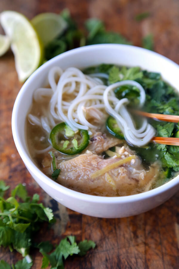 This is a quick, easy and VERY tasty recipe for chicken pho made with leftover roasted chicken. Ready in 20 minutes - the best!