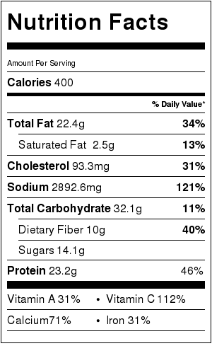 vegetable curry noodles nutritional label