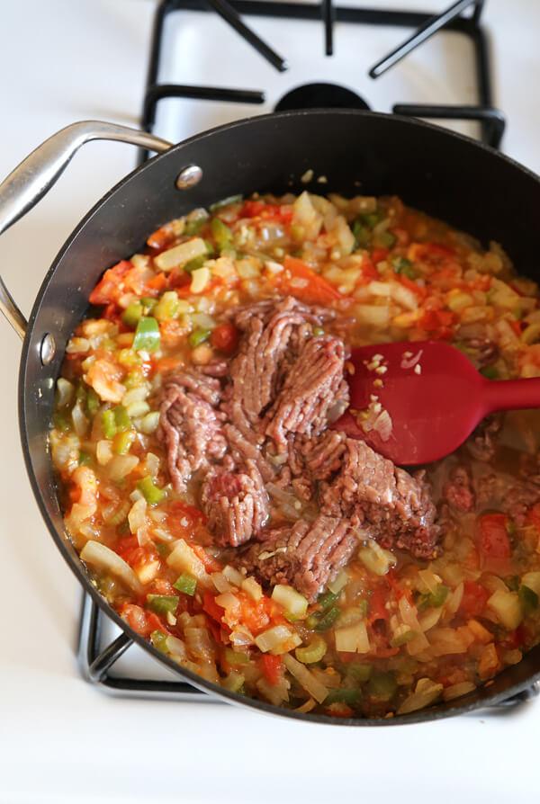 veggies ground beef