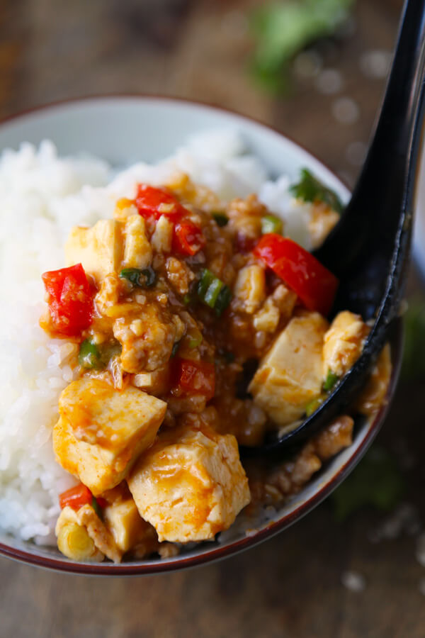 Mabodon (tofu and ground pork in spicy sauce)
