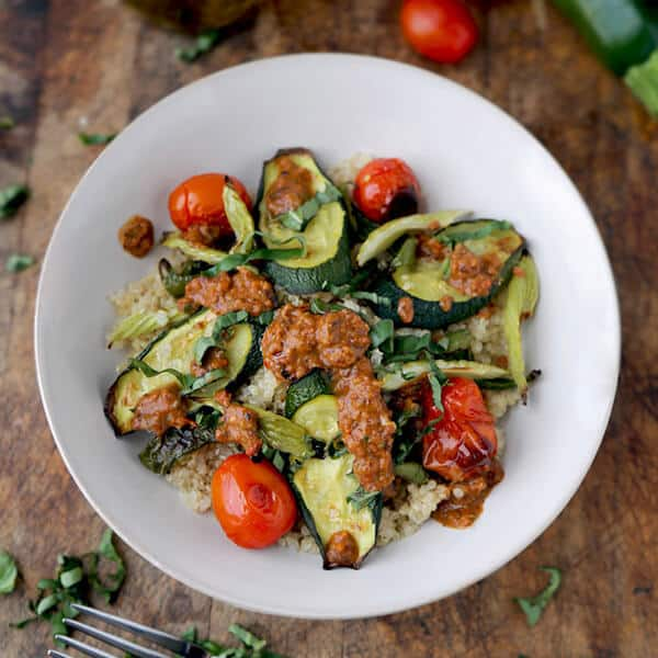 Zesty quinoa salad with roasted vegetables