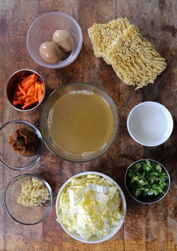 Homemade miso ramen ingredients - Learn how to make miso ramen by watching our quick video! Homemade ramen bowl has never tasted so good! #ramenrecipe #homemaderamen #misoramen #japanesefood | pickledplum.com