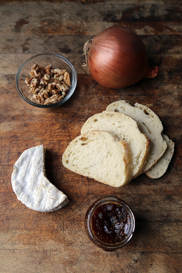 Ingredients for Cheese Tartine with Onion and Fig Jam