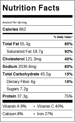 ja ja men nutritional label