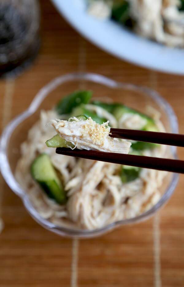 Cold cucumber sesame chicken salad