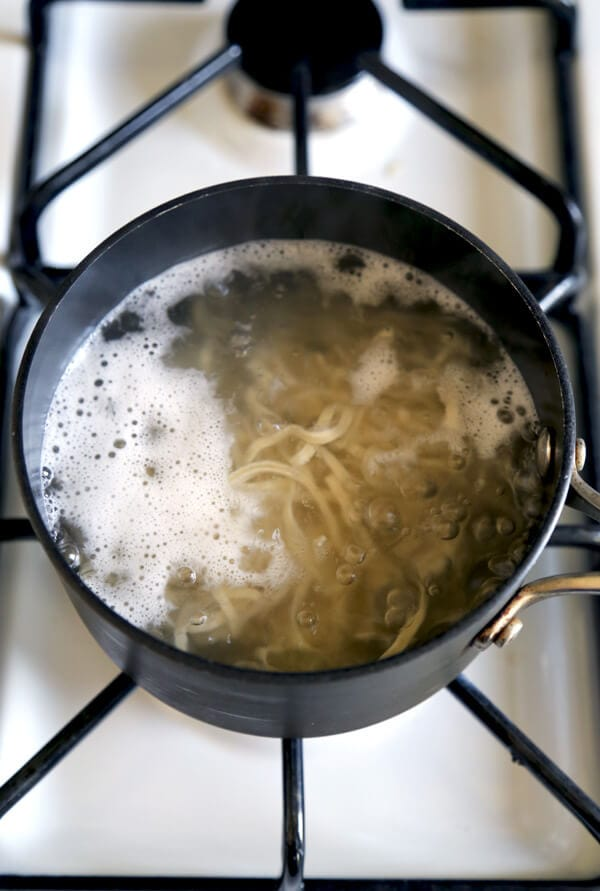 noodles boiling in water