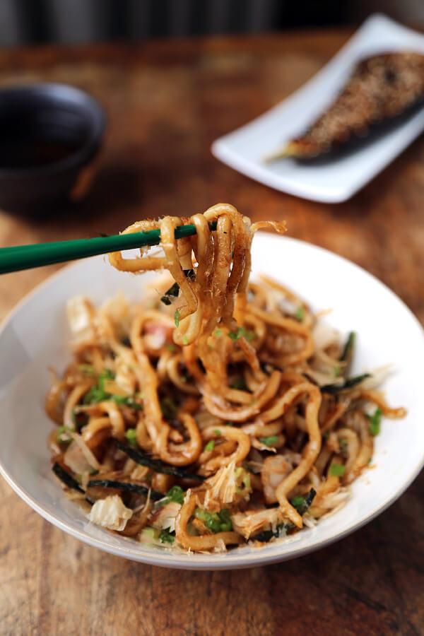 homemade yaki udon noodles