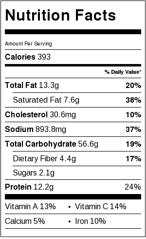 yaki udon nutrition facts