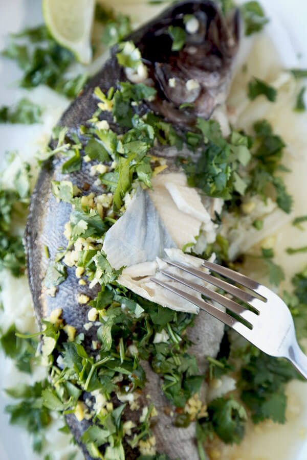 Steamed Fish With Ginger Chili Lime Sauce