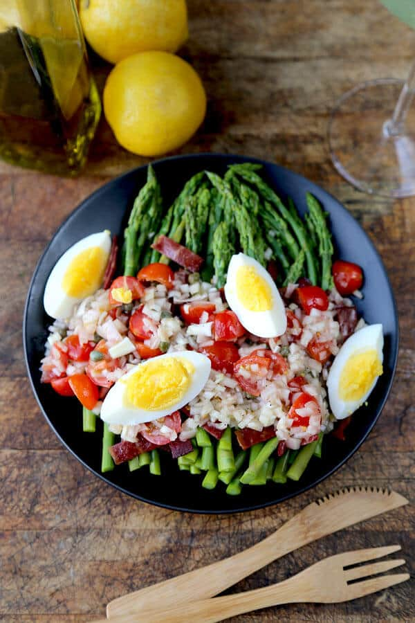 Asparagus Salad with Turkey Bacon and Catalan Dressing