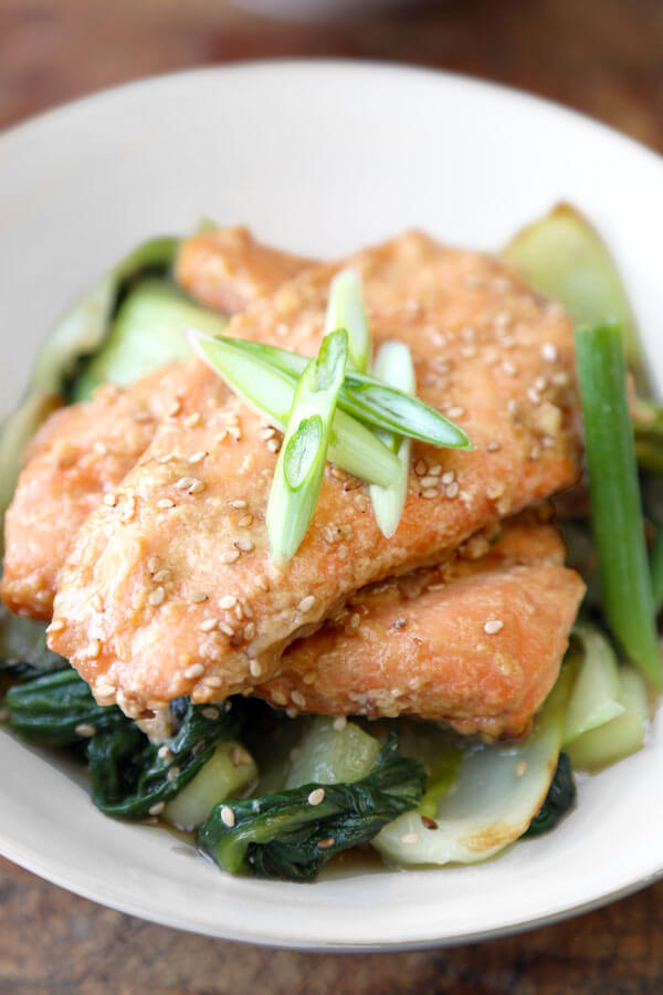 miso salmon with sesame bok choy