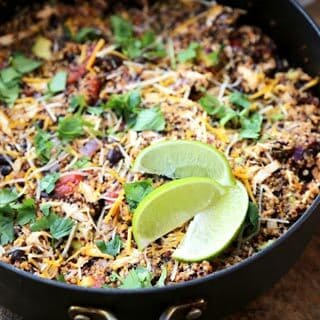One Pot Quinoa Enchilada (with Shredded Chicken)