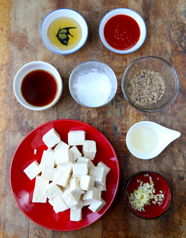 How to make tofu - ingredients for honey sriracha tofu