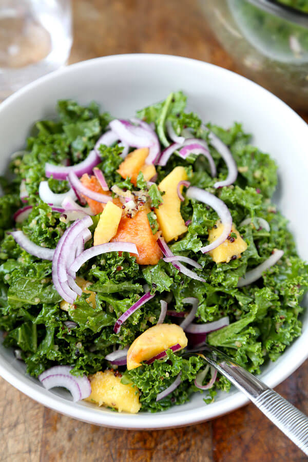 Crunchy Quinoa and Kale Salad with Peach Dressing