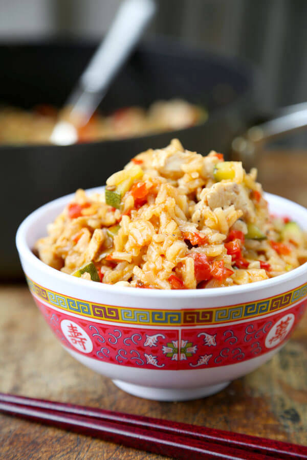 One Pan Szechuan Chicken Fried Rice