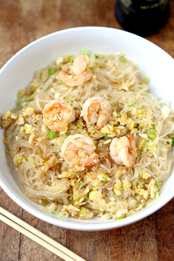 Asian style glass noodles with shrimp - ready in just 15 minutes from start to finish, this glass noodles stir fry recipe is easy and super healthy. It can also be vegan or served cold as a salad. Thai flavors that take me back to my days living in Bangkok. A favorite in our home! #stirfry #healthyeating #thairecipe #shrimp | pickledplum.com