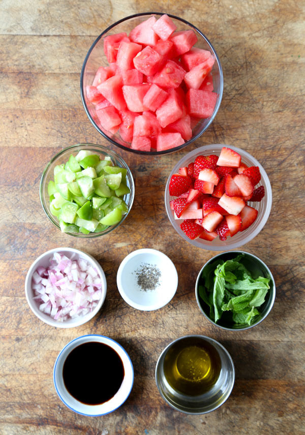 ingredients for strawberry, tomatillo and watermelon salad