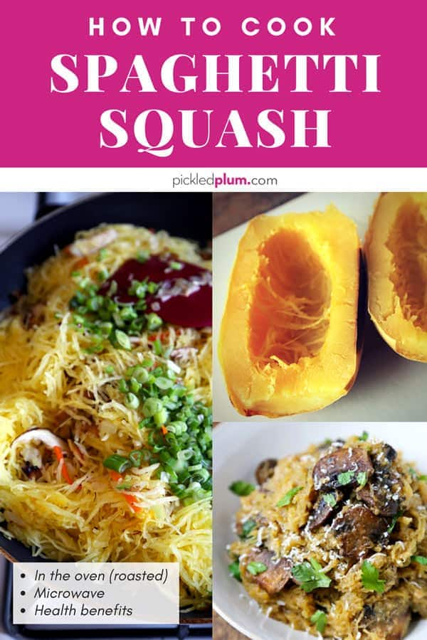 Garlic Parmesan Spaghetti Squash with Mushrooms - Baked spaghetti squash recipes that's hearty and gluten free. This spaghetti squash recipe can be baked in the oven or done in the microwave. This is an easy and healthy way to eat low carb and low calorie meals! #spaghettisquash #healthyeating #squashrecipes| pickledplum.com