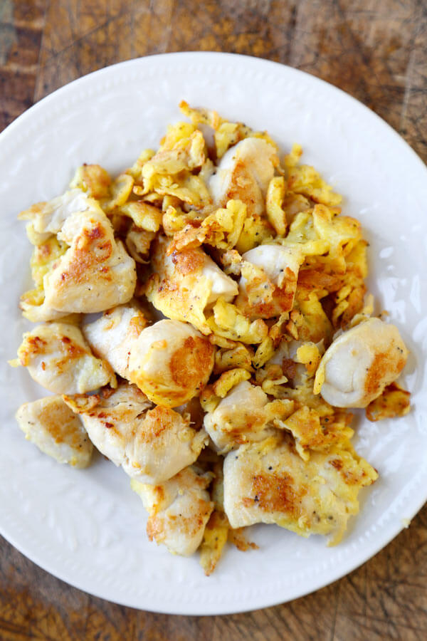 pan fried chicken and eggs