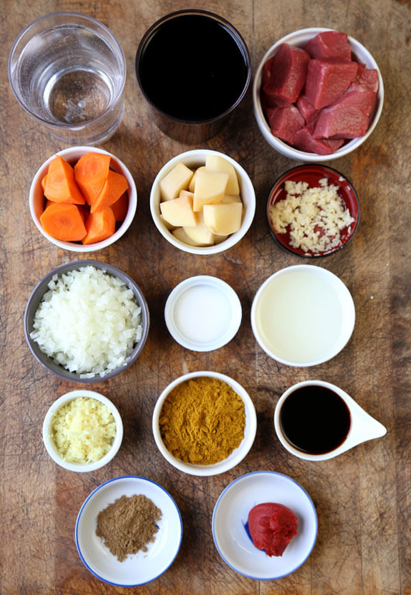 Ingredients for homemade Japanese curry