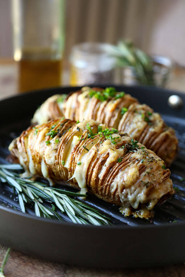 Sliced Baked Potato Hasselback With Rosemary And Gruyere