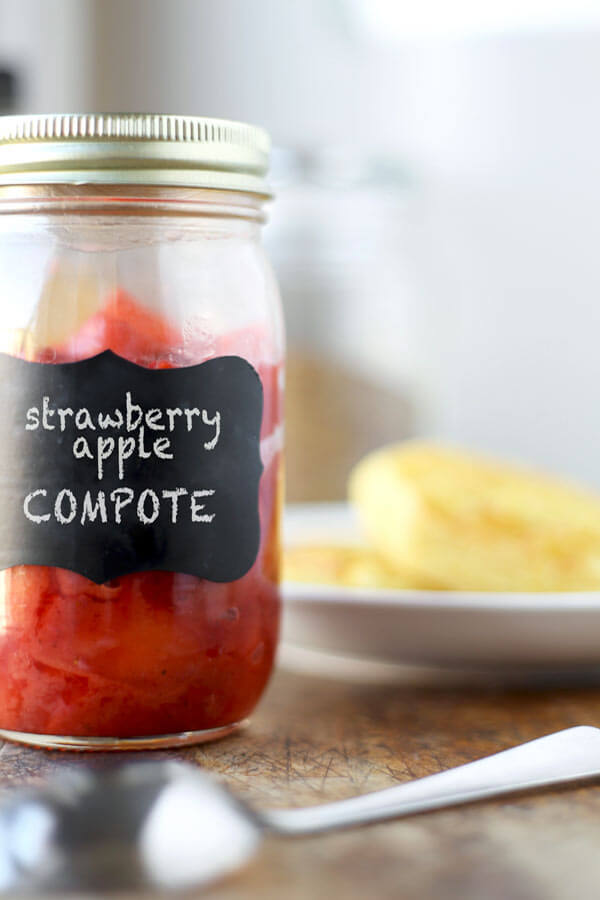Sweet-Tart Strawberry Apple Compote Recipe - Serve this delicious and warm compote on waffles and topped with ice cream for the most amazing breakfast dish! | pickledplum.com
