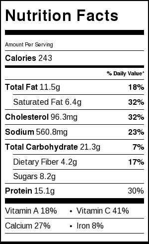 shrimp scampi spaghetti squash nutrition label