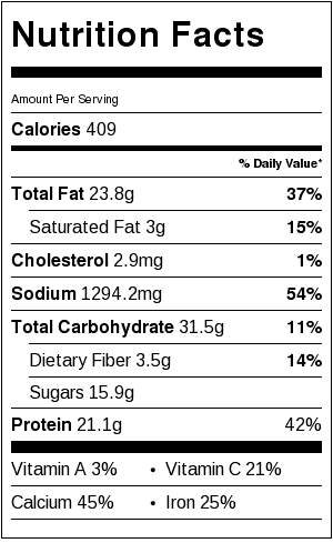 general tso tofu nutrition facts