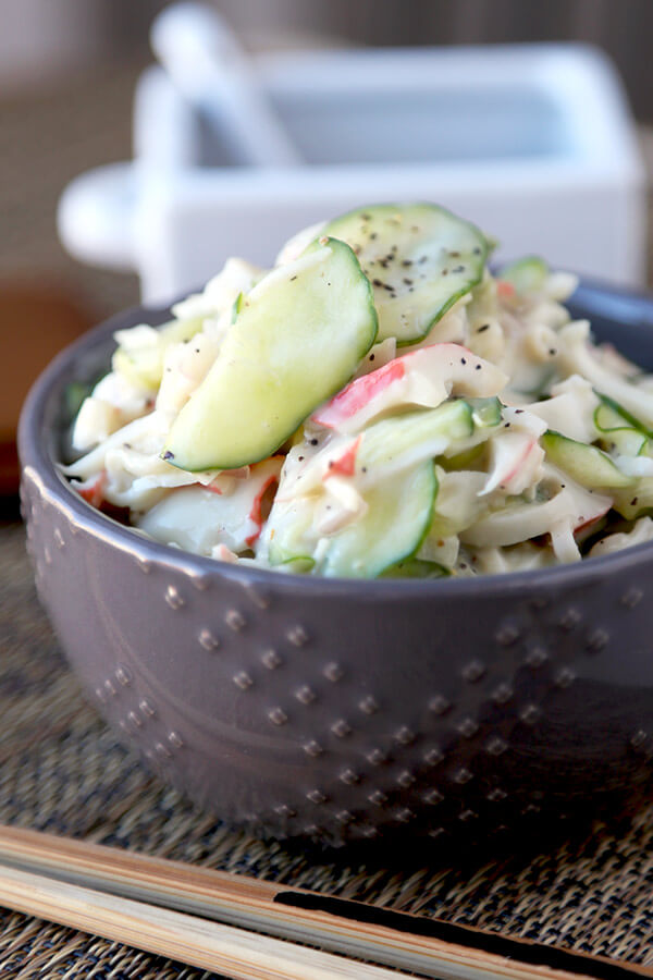 Kani Salad - This is a light and creamy kani salad with sweet and salty flavors your whole family will love - and only takes 10 minutes to make from start to finish! Easy, Salad, Healthy, Recipe.   pickledplum.com