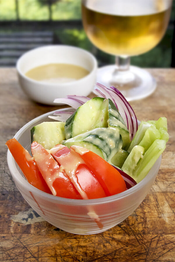 vegetables with miso-lemon dip