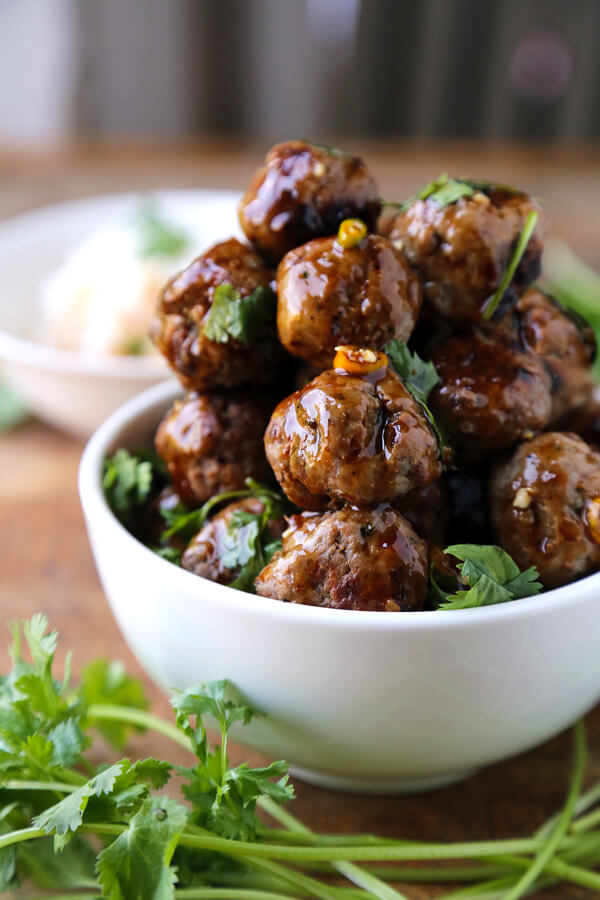 Super bowl party vietnamese meatballs
