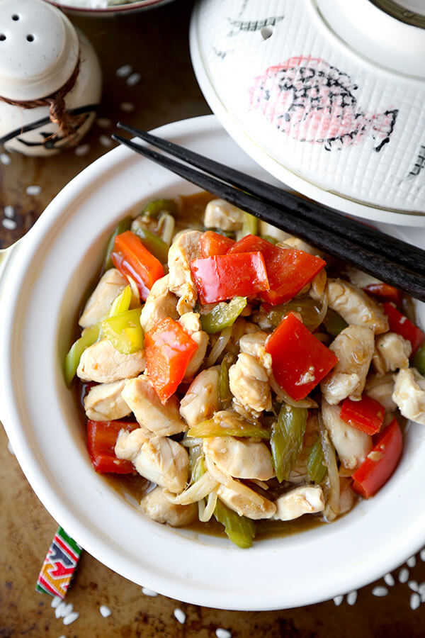 Chicken Chop Suey - Easy chicken chop suey cooked in a delicate savory sauce. This simple recipe is great if you are busy but still want homemade Chinese! Ready in less than 20 minutes. Chinese, Easy, Healthy, Recipe | pickledplum.com