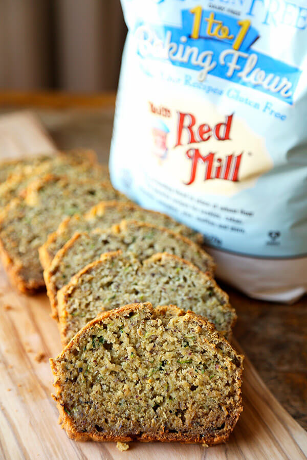 Gluten free zucchini bread - Serve this yummy gluten free zucchini bread as part of your Easter Sunday brunch this year! Topped with a honey orange yogurt sauce, it's the perfect balance of sweet and sour! Easy, gluten free, baking, recipe   pickledplum.com