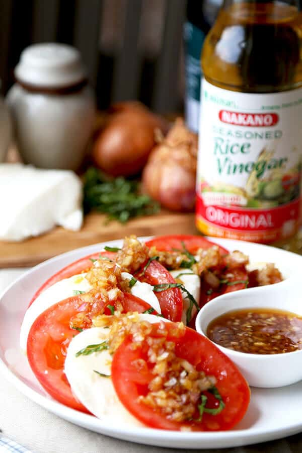 Japanese Caprese Salad - Celebrate warmer weather with this light and refreshing Japanese Caprese salad - ready in 15 minutes from start to finish! Light, Healthy, Easy, Salad, Gluten Free, Recipe | pickledplum.com