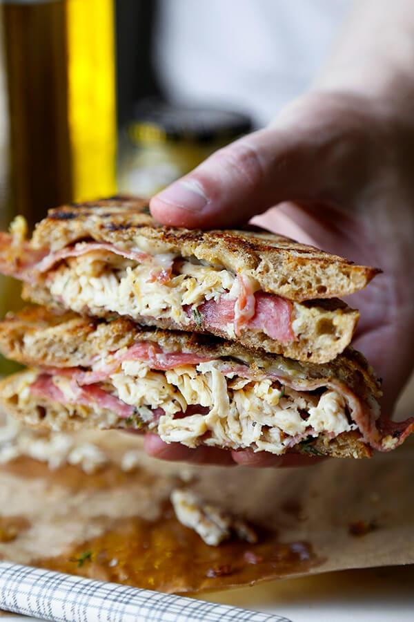 Chicken Cordon Bleu Sandwich - Gooey Gruyère, smoky salami and shredded chicken make this tasty sandwich a treat your family will love! Ready in 20 minutes from start to finish. Recipe, Easy, Sandwich, Snack, Grilled Cheese, Lunch   pickledplum.com