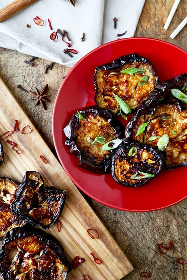 Char Siu Style Eggplant - This baked and caramelized Char Siu Style Roasted Eggplant Recipe has the deep sweet and savory flavors of Chinese roasted pork, but just happens to be super healthy! Recipe, vegetarian, Chinese, healthy, main, side | pickledplum.com