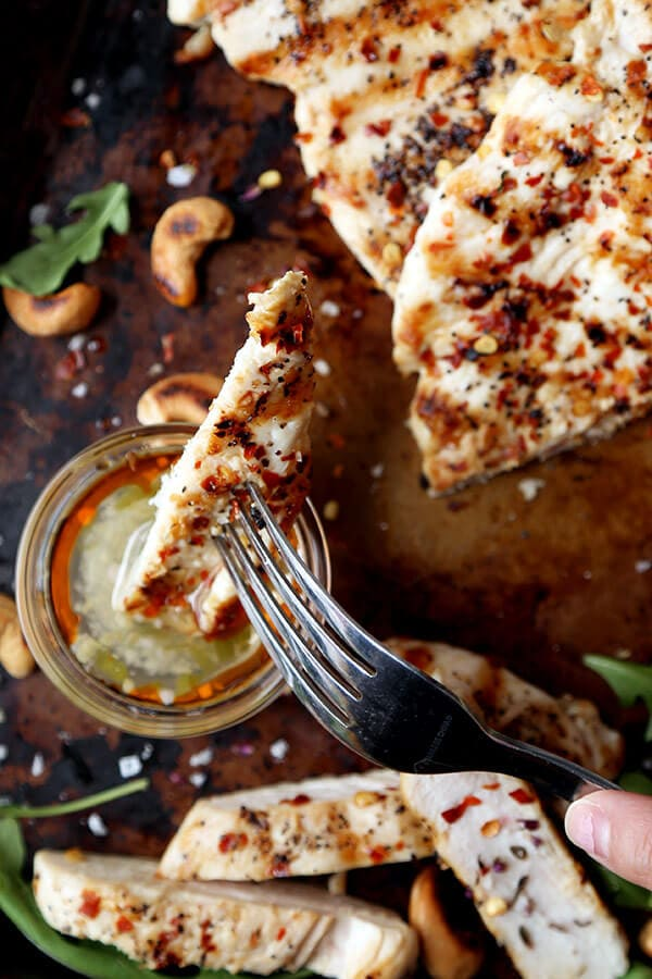 Easy Grilled Chicken With Hot And Sweet Sauce - A tangy, sweet and hot dipping sauce served with char-grilled chicken breasts. Ready in less than 20 minutes from start to finish! Recipe, easy, barbecue, healthy, main, dinner | pickledplum.com