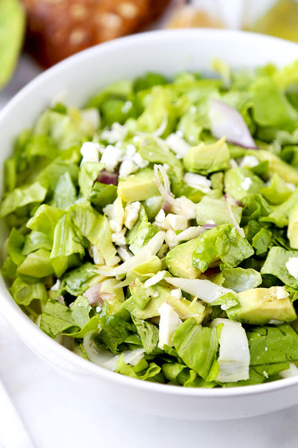 Chopped Salad - A bright, restaurant quality Chopped Salad With Avocado and Endive you can whip up at home in 10 minutes. Super crunchy, creamy and healthy! Recipe, vegan, gluten free, healthy, salad, side, snack | pickledplum.com