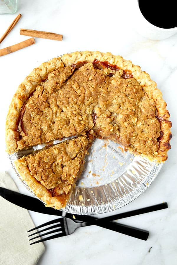 Dutch Apple Pie Recipe - This is an easy homemade recipe for Dutch apple pie with a crumble topping made with oats, brown sugar, butter and olive oil. So good! #applepie #appledessert #pierecipe #dessert | pickledplum.com