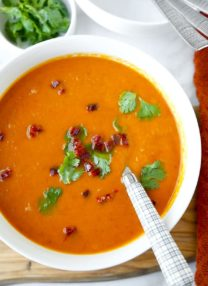 Sweet Potato Chorizo Soup - Loaded with fall vegetables, this smoky Sweet Potato Chorizo Soup Recipe celebrates the changing seasons. Sweet potato soup never tasted so good! Recipe, healthy, soup, appetizer, dinner | pickledplum.com