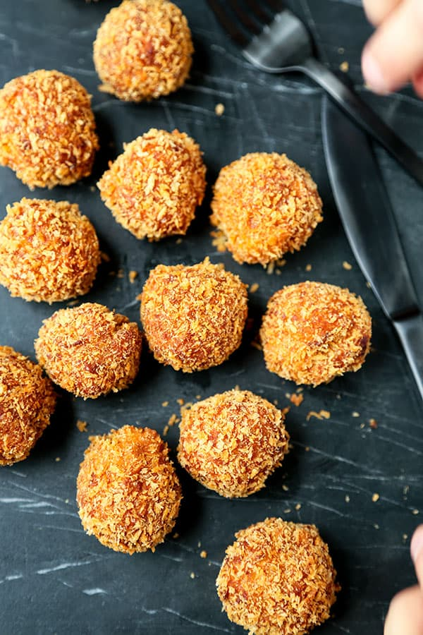 Sweet Potato Croquettes Recipe- These perfectly crunchy, creamy Sweet Potato Croquettes are loaded with healthy ingredients, but tastes like an indulgent, full-flavor dessert bomb! Recipe, dessert, sweet potato, snack, Thanksgiving, Christmas | pickledplum.com
