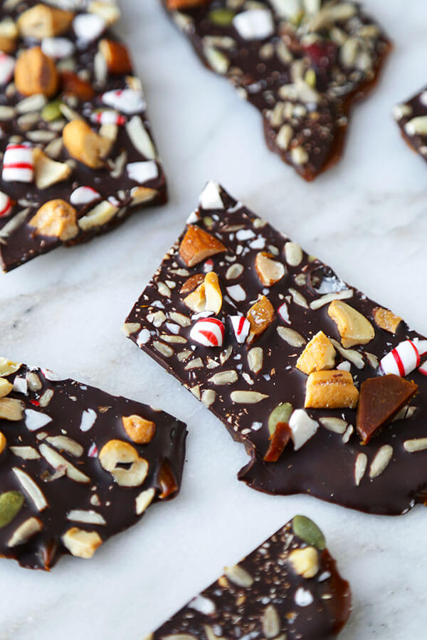 Super Nutty Chocolate Peppermint Bark - One layer of naughty and two layers of nice make this Super Nutty Chocolate Bark the perfect sweet, holiday inspired treat. It also makes a great homemade gift! Recipe, Thanksgiving, Christmas, toffee, dessert, snack, chocolate | pickledplum.com