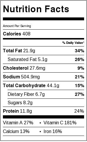 Hearty Vegetable Pot Pie Nutrition Facts