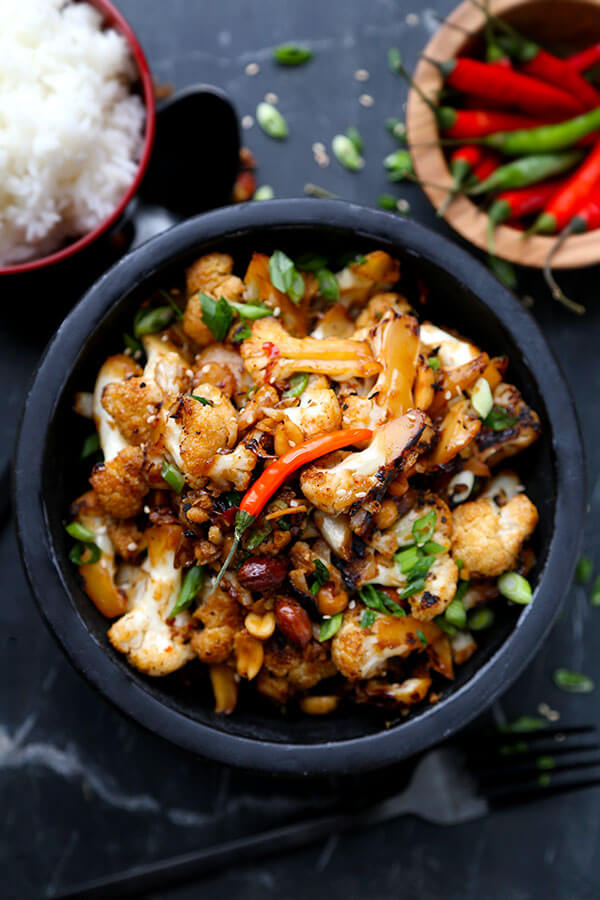 Kung Pao Cauliflower - A delicious alternative to classic Kung Pao Chicken, Kung Pao Cauliflower is just as smoky and satisfying but lower in calories and fat! Recipe, Chinese food, take out, healthy, cauliflower, vegetarian, Asian   pickledplum.com